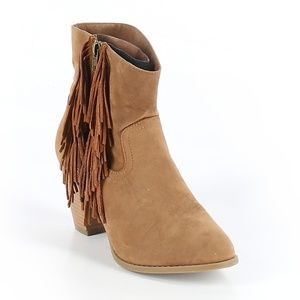 Sugar Tuko Women's Tan Fringe Ankle Boot Size 7M